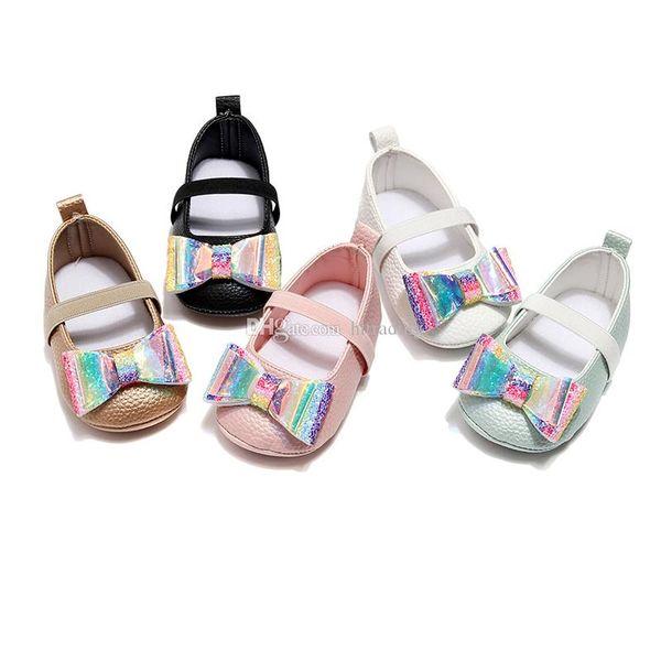 New Baby bambini Paillettes bow shoes 2019 Primavera Autunno Moda Toddler laser scarpe infantili primi camminatori neonati Walkers scarpe C6899