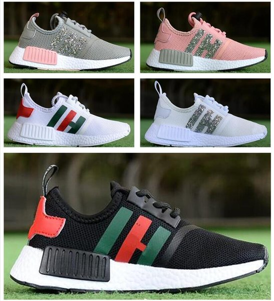 Children boys girls NMD R1 Baby Kids Shoes White Black Red Pink Crystal NMDS CS sequins trainers city sock sneakers Running Shoes size28-35