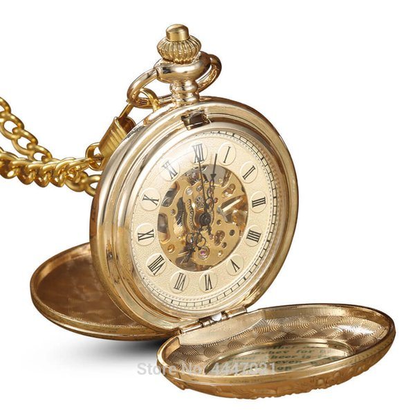 Golden Mechanical Pocket Watches Hand Winding 2 Sides Open Case Skeleton Carving Pocket watches Chains Steampunk Fob Clip Clock