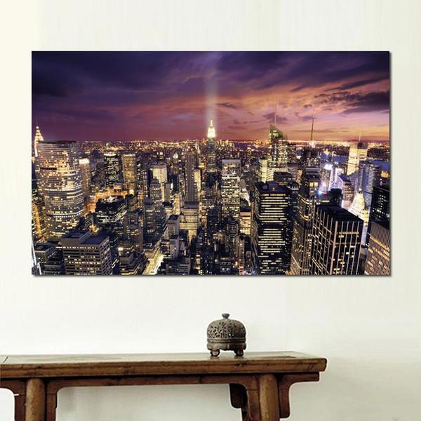 Modern Poster amerika hafif bulutlar evler şehirler Tuval Baskılar Duvar Tuval Sanat Baskılar hiçbir çerçeve
