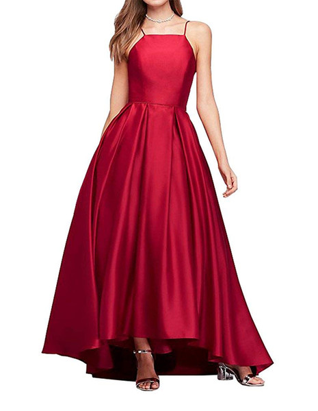 Pretty Spaghetti Strap A-line Prom Gown Hign/Low Style Satin Women's Long Evening Dress Custom Made