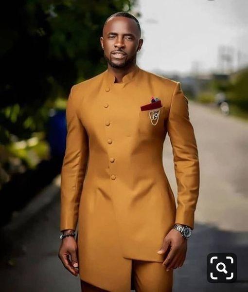 Trajes dorados de corte slim para hombre Trajes de novio de boda 2 piezas (chaqueta + pantalón) Novios trajes Botón frontal Diseño Best Man Prom Blazer
