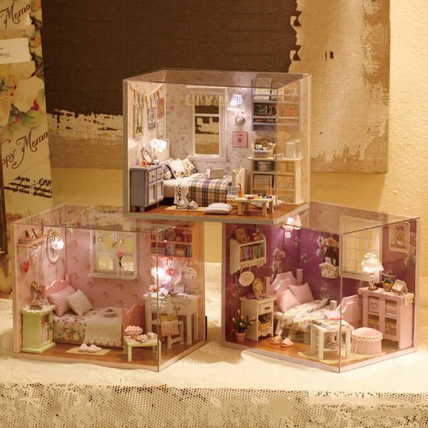 Acheter 3d Bricolage Bois Miniature 1 12 Maison De Poupee Mobilier Kit Princesse Maisons Mini Assemblage Maison De Poupee Jouets Pour Enfants Cadeaux