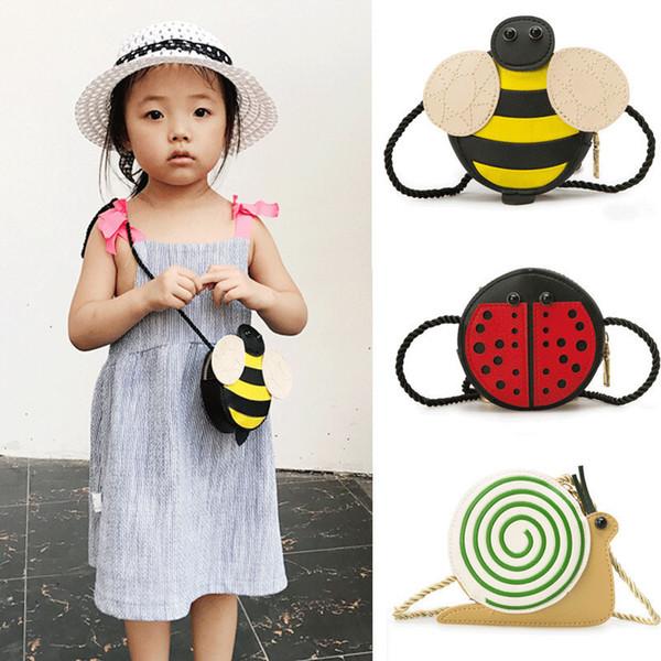 New Baby Girls Tassel Sac à main enfants Enfants Cross Body épaule Cadeaux Sac Cartoon animaux Sac d'escargot de coccinelle abeille