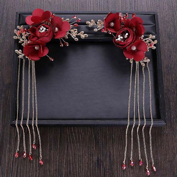 Chinese Classic Red Rose Flower Tassel Hair Pins Crystal Bridal Hairpins Headpiece Bride Wedding Hair Jewelry Accessories JL