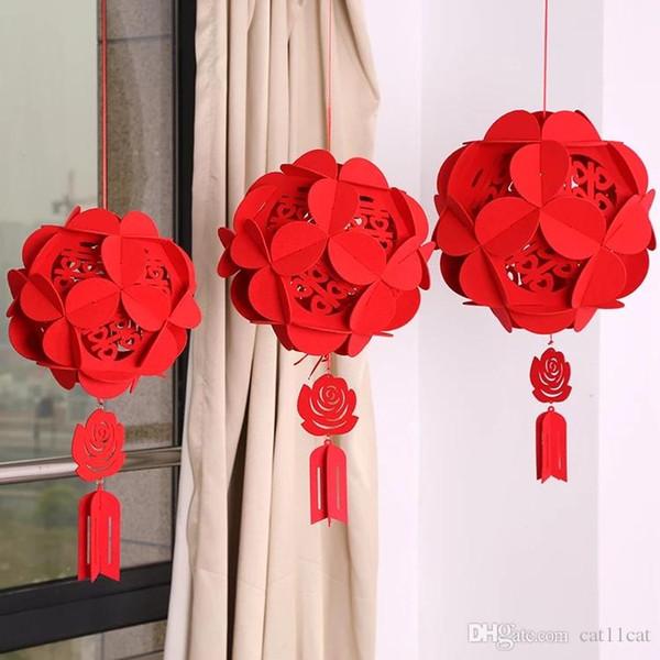 Decoración de la boda no tejidas linterna palacio de año nuevo Red Lantern Festival de Primavera de China Party Decor