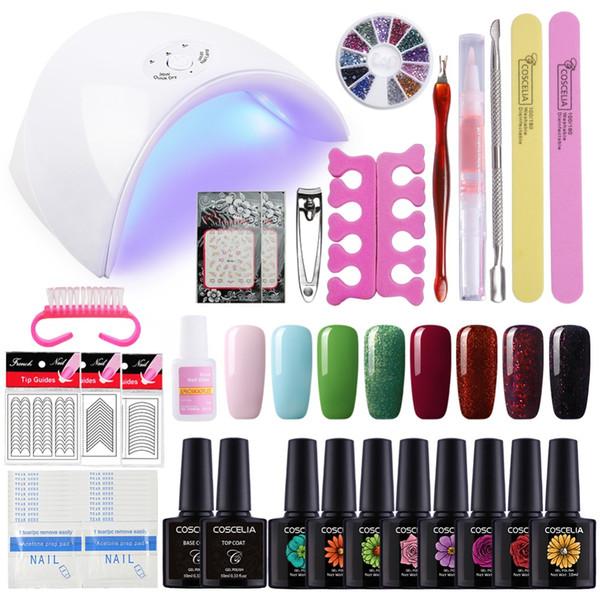 Sistema De Manicura De 24 36w Lámpara Para Uñas De Gel 6 De Uñas Conjunto Del Polaco Herramientas Nail Art Kit Para El Kit De Manicura Gel