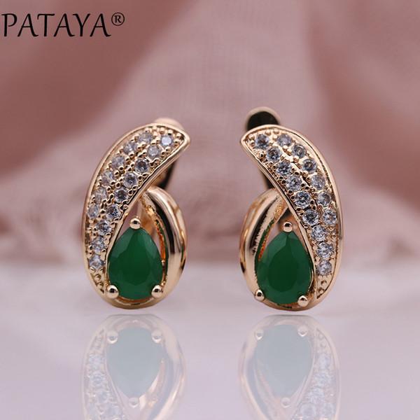 pataya new cute water drop colors green natural zircon dangle earrings women wedding party jewelry 585 rose gold luxury earring