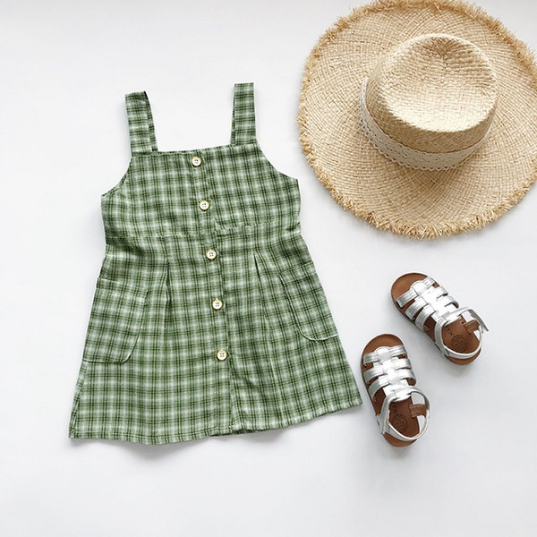 Gril Summer Plaid Dress 2019 Brand Child Clothing Girls Casual Suspender Plaid Dress with Button Summer Fashion Skirts Baby Girl Skirts