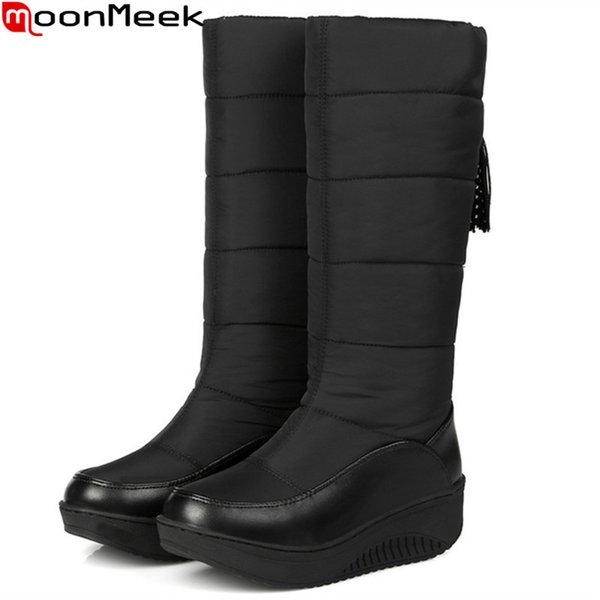 2019 MoonMeek Plus size 35-44 fashion women boots Keep warm comfortable winter snow boots Down Waterproof ladies mid calf boots