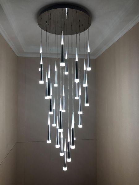 Acheter 2019 Escalier Moderne Lustre Plafond Eclairage Interieur Long Escalier Lustre Lampe Suspendue En Suspension Lustres Luminaire Lumiere De