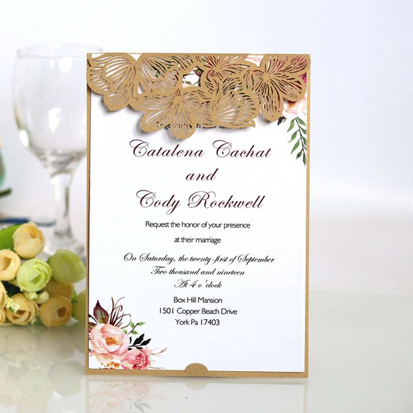 Laser Cut Rose Hollow Out Wedding Invitation Card Elegant Greeting Card Customize Business Rsvp Wedding Party Decor Send Cards Send Free Birthday