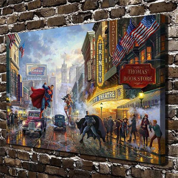 Superman Batman Street, Home Decor HD gedruckt moderne Kunst Malerei auf Leinwand (ungerahmt / gerahmt)
