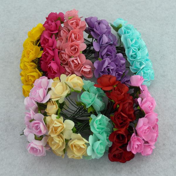 144PCS / lot 1.5 cm artificial small paper rose handmade party supplies wedding car decoration Artificial flower