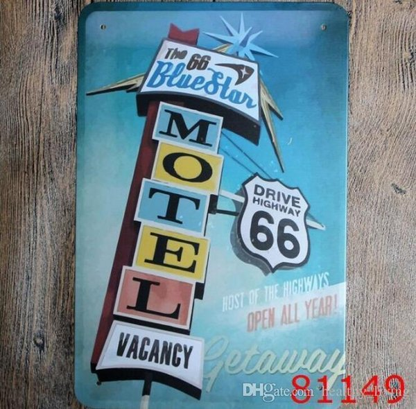 Garage Motel Route 66 Uscita Beer Beach Lounge bar arrow Direzionale Targhe in metallo Retro in metallo Registrati Decor Wall Cafe Pub Shop Restaurant 111