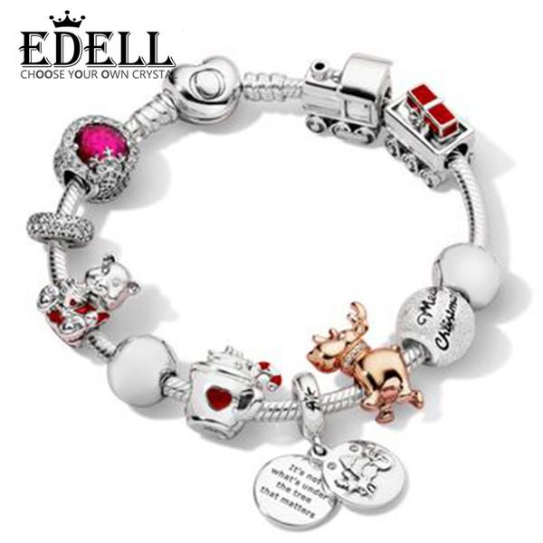 EDELL 100% argent Sterling Silver Bracelet Set Joyeux Noël Charm Éblouissant Flocon De Neige Charm ROSE REINDEER BEAR Train