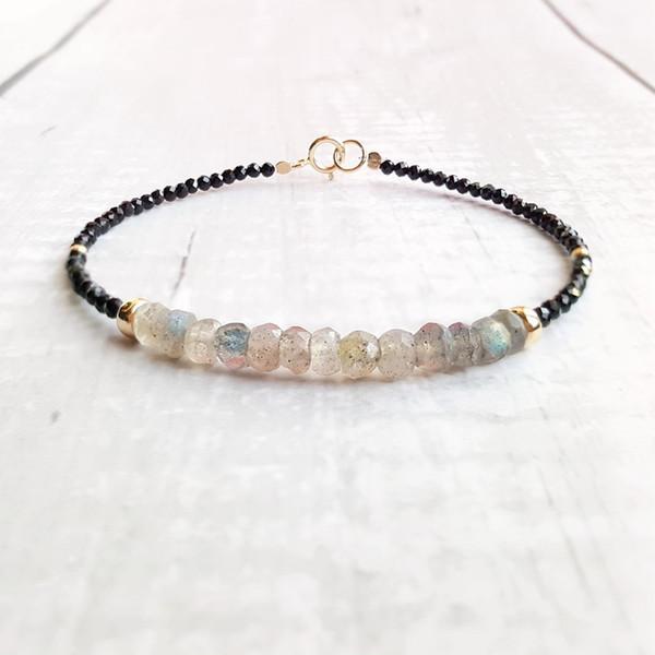 Lii Ji Labradorite Black Spinel Bracelet Natural Gemstone 925 Sterling Silver Gold Plated Sparkling Delicate Jewelry
