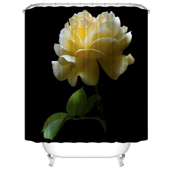 Floral Shower Curtain Blooming Flowers Artsy Print for Bathroom