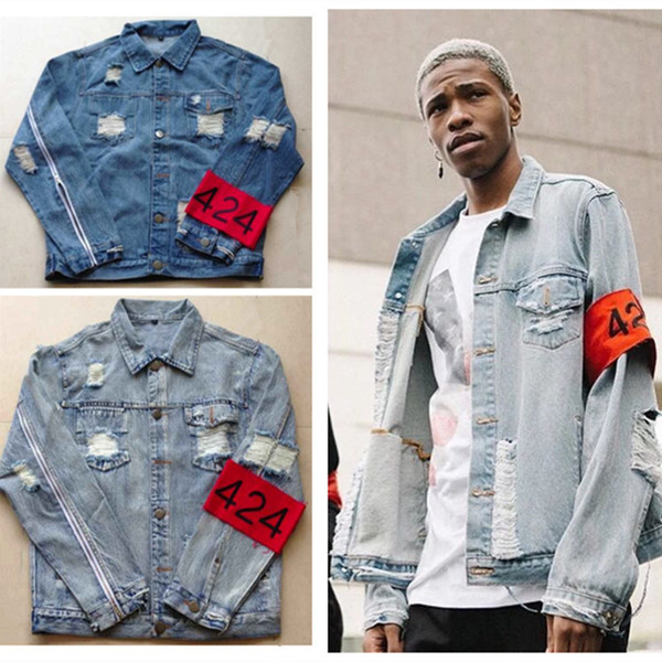 New mens hip hop ripped jeans denim jacket coat fear of god FourTwoFour 424 jeans jackets for men z14