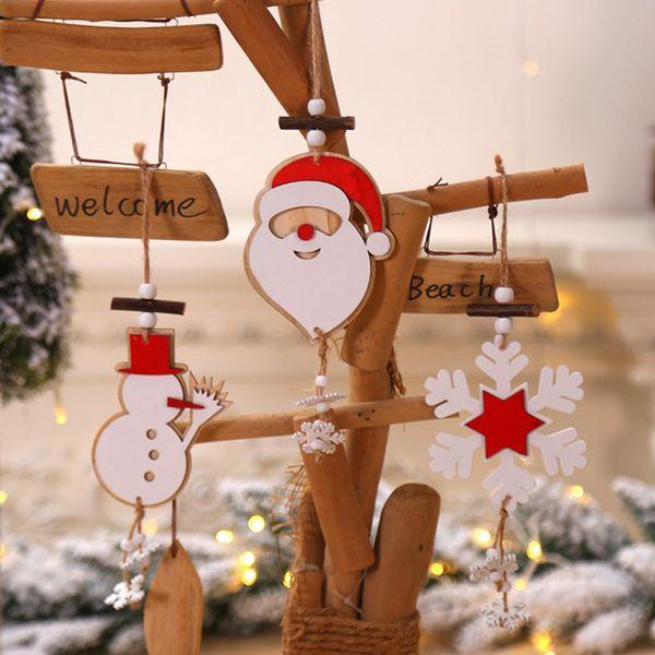 Noël flocon de neige en bois Pendentifs ornements de Noël Ornement d'arbre de bricolage bois artisanat enfants cadeau pour Noël Accueil Décorations festives A3095 SH190918