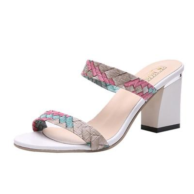 HB@2019 SAGACE Fashion Women Summer Mixed Colors Open-toed High Leisure Sexy Heeled Sandals Flip Flops Thick Heels