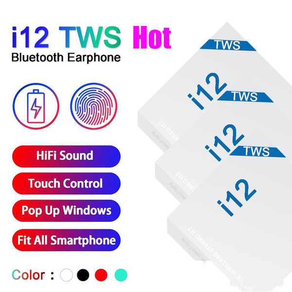 top popular I12 Tws 5.0 Earbuds Wireless Bluetooth Headphones Support Pop Up Window Earphones Colorful Touch Control Headset Hot Sale In Stock 2020