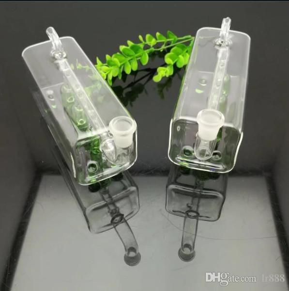 tube carré trois colonnes bouteille d'eau de filtre en verre en verre bong huile brûleur verre d'eau Pipes huile Fumeurs Rigs