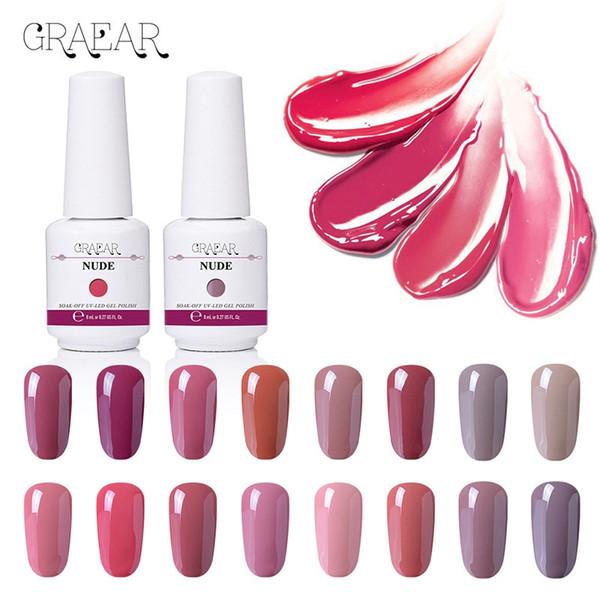 top popular GRAEAR Nude Series Nail Polish 8ml Purple Red Black Gray Soak Off UV Gel Polish Glue Lacquer Manicure Nail Art Varnish Tool 2021