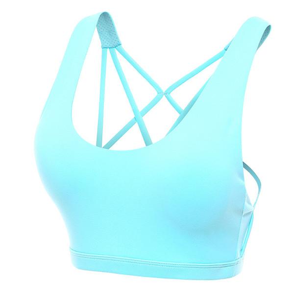 Sexy Correias Cruz Yoga Sports Bra Quick Dry For Women Gym Sem Fios em execução Workout Fitness Principais acolchoado Push Up Bra Top Curto