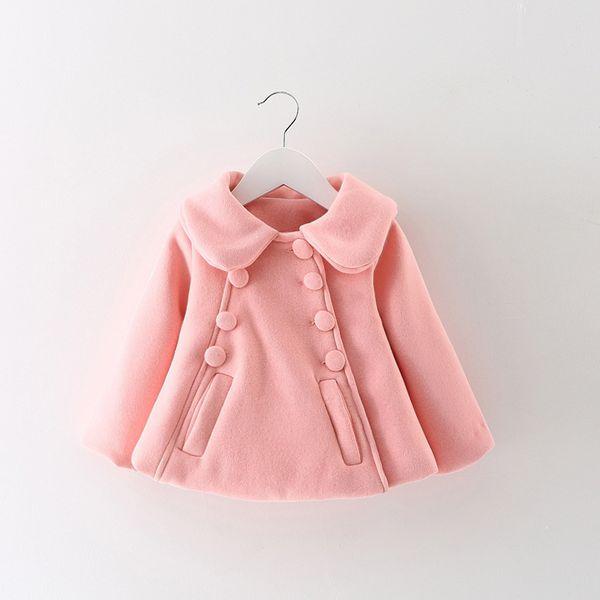 2018 Autumn Winter Baby Girl Infants Girls Kids Turn-Down Collar Double Breasted Jacket Woolen Blended Cardigan Outwear Coat