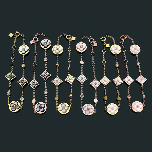 Fashion New Arrive Lady 316L Titanium steel 18K Plated Gold Chain Bracelets With Black White Pink Onyx Diamond Four Leaf Flower Pendant