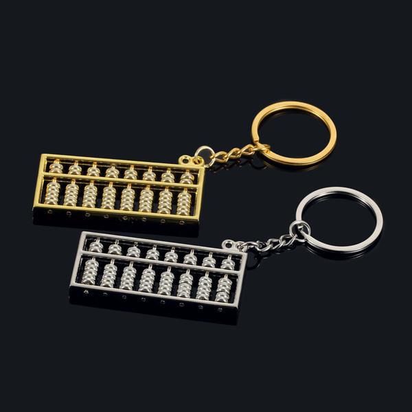 Estilo chinês 6 arquivo 8 arquivo de ouro e prata ábaco de metal chaveiro cadeia de publicidade do carro pendurado chave anel cadeia anel pingente acessórios
