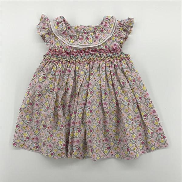 Nueva llegada Vestidos para bebés Vestidos de flores para niños Vestidos con estampado de The Baby Baby Girls Ropa 2019 INS Vestidos para niñas más nuevos fuera