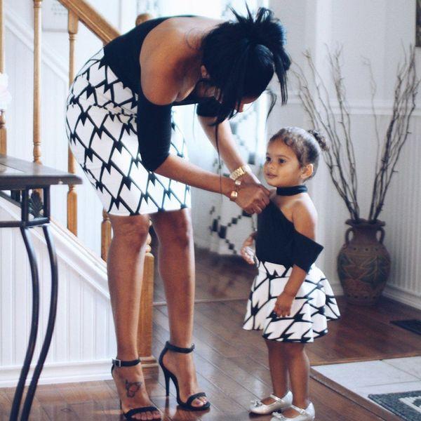 Mama Giyim Aile Eşleştirme Kıyafetler Anne Kız Elbise Kısa Pamuk Anne Ve Kızı Elbiseler Kapalı Omuz Q190524