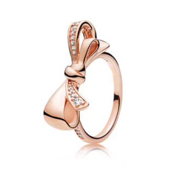 NEUE 100% Sterling Silber 1: 1 Glamour 197232CZ Rose Gold Brilliant Bogen Ring Original Frauen Hochzeit Modeschmuck 2018