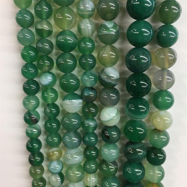 Echte Streifen Edelstein Gebändert Green Line Achat Naturstein Perlen für DIY Heilung Power Karneol Onyx Armband Schmuck Geschenk