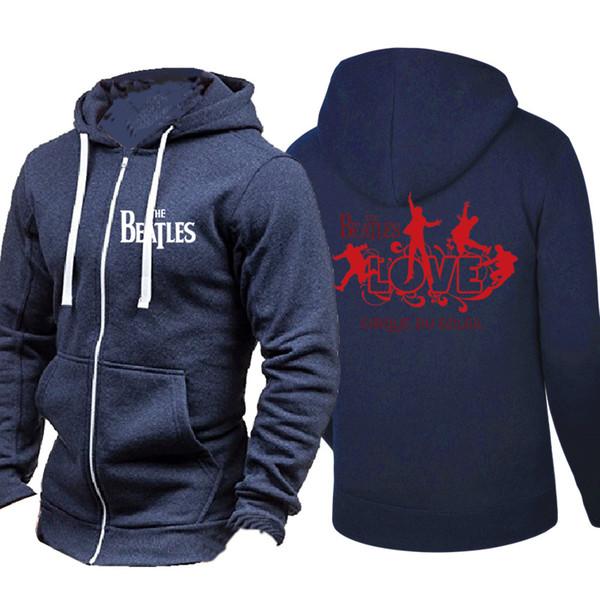Großhandel Frühling Herbst Strickjacke Männer Hoodies Beliebte Hip Hop Jacke Die Beatles Musik Rock And Roll Mode Lässig Sweatshirt Sportbekleidung
