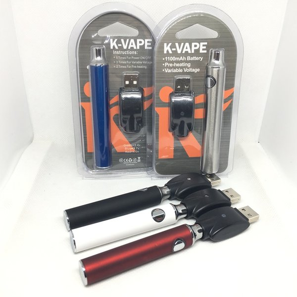 K-Vape Preheat VV Battery Blister Kit 1100mAh Voltaje variable Vape Battery E Cigarette 510 Thread With USB Charger Para cartuchos de aceite