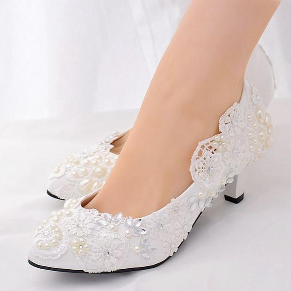 NEW design white lace wedding shoes bride plus size middle 5CM heel bridal crystal wedding pumps bridesmaid shoes