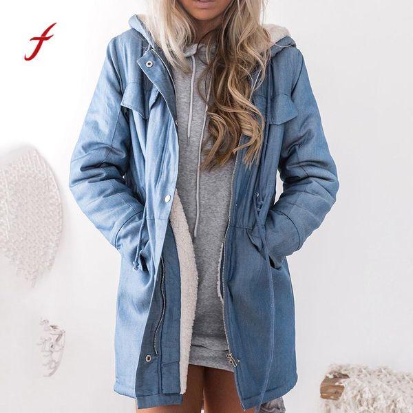 Women Warm Hooded Casual Long Sleeve Denim Jacket Long Jean Outwear Overcoat Feminino korean fashion clothing for womens top
