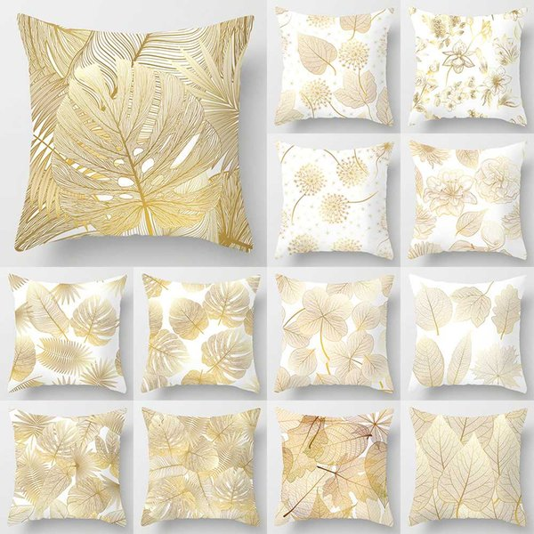 Golden Flowers Leaves Pillow Case 45*45 Polyester Home Throw Pillows Soft Decorative Cushion Cover For Sofa Chair Pillow Covers