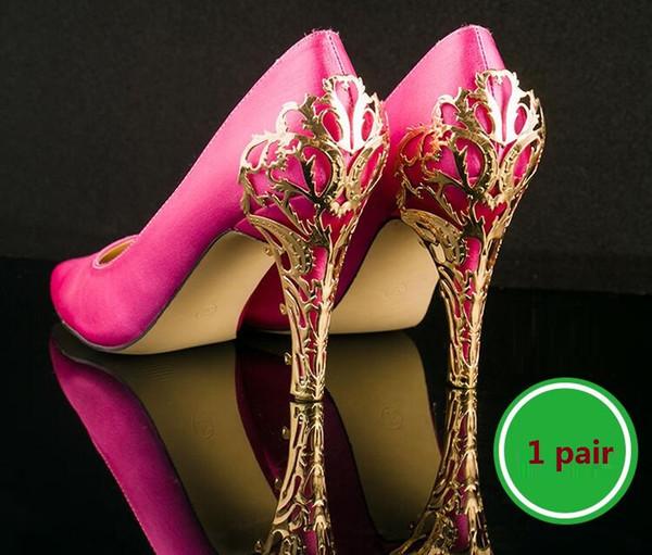 accessori scarpe Riparazione tallone metallo arricciacapelli scarpe tacco alto decorativo lamiera con paillettes metalliche 1 paio