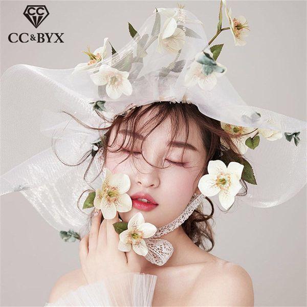CC joyería de la boda grandes sombreros para el cabello corona hiperbol translúcido encaje flor forma accesorios de compromiso nupcial fiesta hecha a mano XY345
