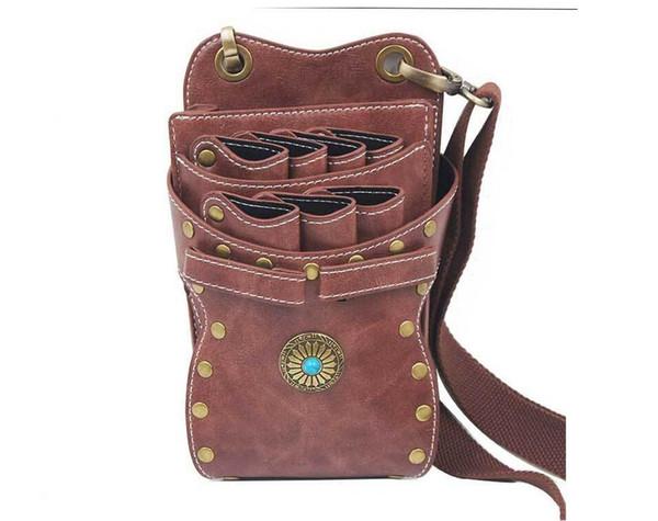 Hair Scissor Clips Schultergürteltasche Hüfttasche - PU-Leder-Haarpflege-Werkzeuge Kammschere Lagerung Friseurfriseur-Taschen