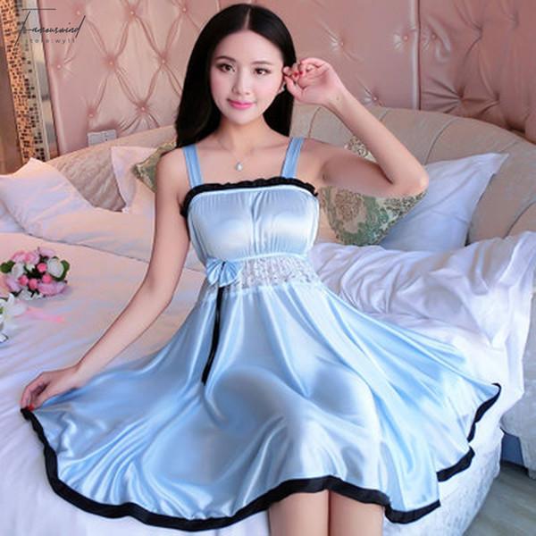 Strap Spaghetti Pijamas Pijamas Silk Mulheres Nightgowns Lace Sexy Lingeries Plus Size Xl Feminino Sólidos Nightwear Lingerie