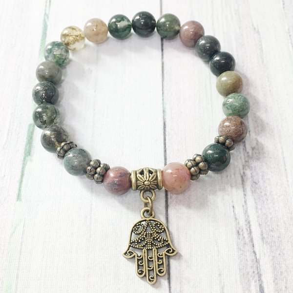 MG0411 Simple Design Natural Stone Bracelet for Women 8 mm Fancy Beads Hamsa Charm Bracelet Indian Agate Energy Jewelry