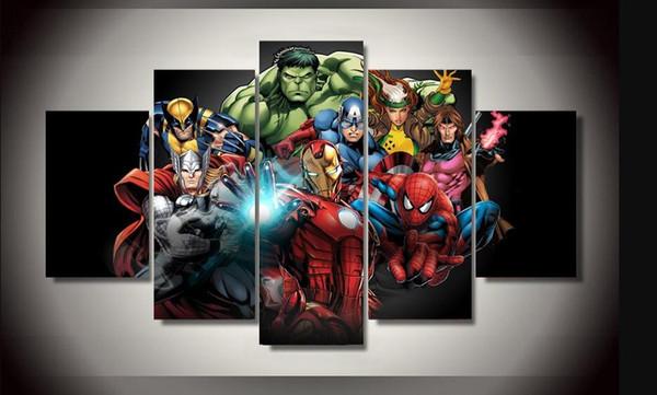 Peinture à l'huile moderne Mur Photos Salon Chambre Décoration Film Affiche Comics Vengeurs Spiderman Hulk 5 Panneau Aucun Encadré