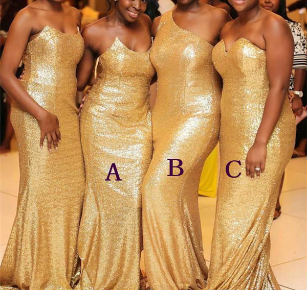 Gold Sequined Bridesmaid Dresses 2019 Black Girls Summer Country Garden Formal Wedding Party Guest Maid of Honor Gowns Plus Size Custom Mad