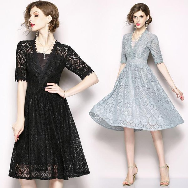 Lace Dress Woman Vintage Summer Elegant Party Long Prom Dresses V Neck Short Sleeve Casual Dress