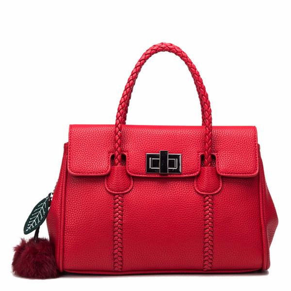 Decent2019 Leather Genuine Litchi Grain Handbag Single Shoulder Span Bag European Major Suit Platinum A Wrist Cowhide Woman Package